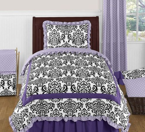 Lavender, Purple, Black and White Sloane 4pc Twin Girls Bedding Set  by Sweet Jojo Designs - Click to enlarge