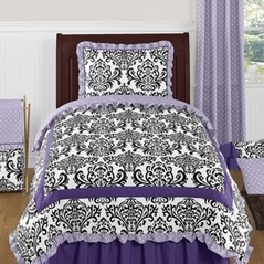 Lavender, Purple, Black and White Sloane 4pc Twin Girls Bedding Set  by Sweet Jojo Designs