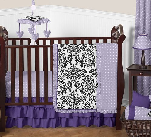 Lavender, Purple, Black and White Sloane Baby Bedding - 11pc Girls Crib Set by Sweet Jojo Designs - Click to enlarge