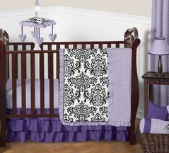 Lavender, Purple, Black and White Sloane Baby Bedding - 11pc Girls Crib Set by Sweet Jojo Designs