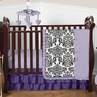 Lavender, Purple, Black and White Sloane Baby Bedding - 4pc Girls Crib Set by Sweet Jojo Designs