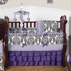 Lavender, Purple, Black and White Sloane Baby Bedding - 9pc Girls Crib Set by Sweet Jojo Designs