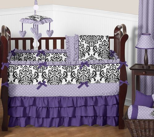 Lavender, Purple, Black and White Sloane Baby Bedding - 9pc Girls Crib Set by Sweet Jojo Designs - Click to enlarge