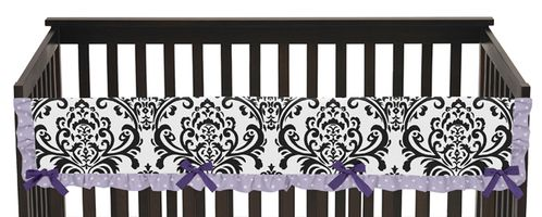 Lavender, Purple, Black and White Sloane Baby Crib Long Rail Guard Cover by Sweet Jojo Designs - Click to enlarge