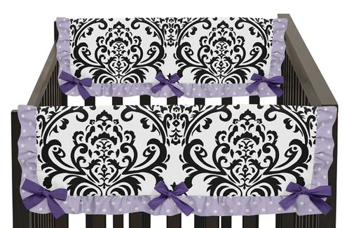 Lavender, Purple, Black and White Sloane Baby Crib Side Rail Guard Covers by Sweet Jojo Designs - Set of 2 - Click to enlarge