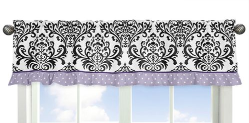 Lavender, Purple, Black and White Sloane�Collection Window Valance by Sweet Jojo Designs - Click to enlarge
