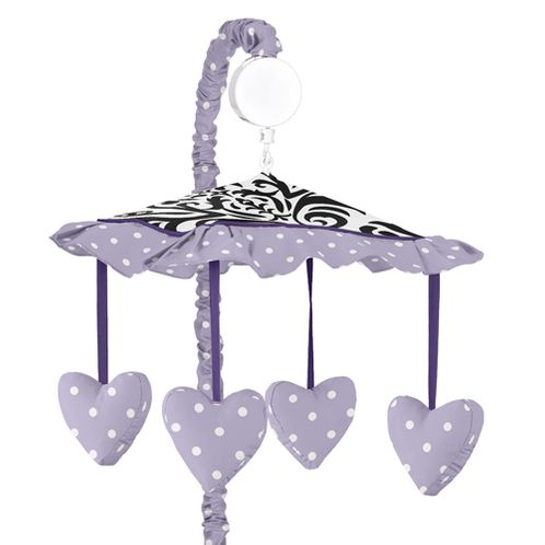 Lavender, Purple, Black and White Sloane Musical Baby Crib Mobile by Sweet Jojo Designs - Click to enlarge