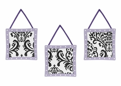 Lavender, Purple, Black and White Sloane Wall Hanging Accessories by Sweet Jojo Designs