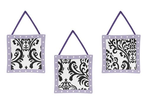 Lavender, Purple, Black and White Sloane Wall Hanging Accessories by Sweet Jojo Designs - Click to enlarge