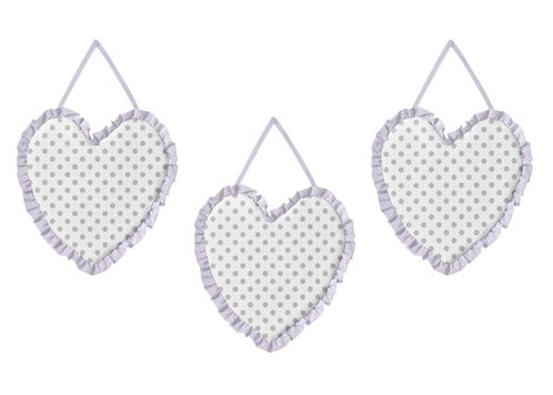 Lavender Purple, Grey and White Polka Dot Heart Wall Hanging Decor for Watercolor Floral Collection by Sweet Jojo Designs - Set of 3 - Click to enlarge