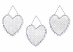Lavender Purple, Grey and White Polka Dot Heart Wall Hanging Decor for Watercolor Floral Collection by Sweet Jojo Designs - Set of 3