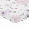 Lavender Purple, Pink, Grey and White Baby Fitted Mini Portable Crib Sheet for Watercolor Floral Collection by Sweet Jojo Designs - Rose Flower