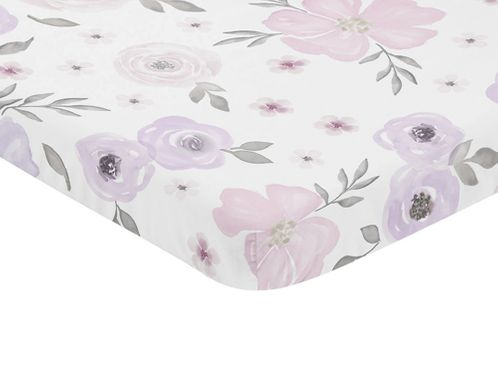 Lavender Purple, Pink, Grey and White Baby Fitted Mini Portable Crib Sheet for Watercolor Floral Collection by Sweet Jojo Designs - Rose Flower - Click to enlarge