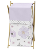 Lavender Purple, Pink, Grey and White Baby Kid Clothes Laundry Hamper for Watercolor Floral Collection by Sweet Jojo Designs - Rose Flower