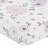 Lavender Purple, Pink, Grey and White Baby or Toddler Fitted Crib Sheet for Watercolor Floral Collection by Sweet Jojo Designs - Rose Flower