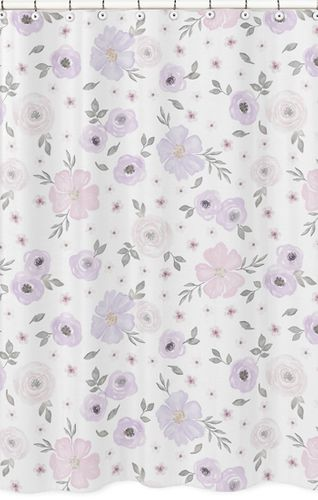 Lavender Purple Pink Grey And White Bathroom Fabric Bath Shower Curtain For Watercolor Floral