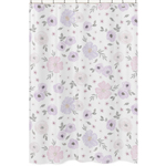 Lavender Purple, Pink, Grey and White Bathroom Fabric Bath Shower Curtain for Watercolor Floral Collection by Sweet Jojo Designs - Rose Flower