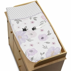 Lavender Purple, Pink, Grey and White Changing Pad Cover for Watercolor Floral Collection by Sweet Jojo Designs