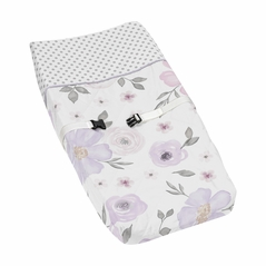 Lavender Purple, Pink, Grey and White Changing Pad Cover for Watercolor Floral Collection by Sweet Jojo Designs - Rose Flower