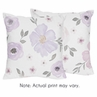Lavender Purple, Pink, Grey and White Decorative Accent Throw Pillows for Watercolor Floral Collection by Sweet Jojo Designs - Set of 2 - Rose Flower