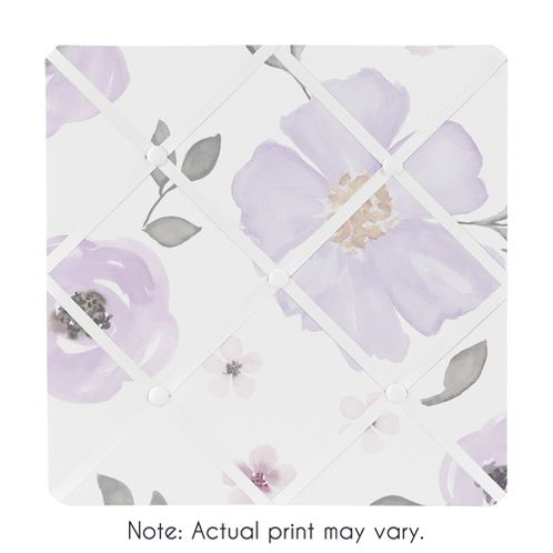 Lavender Purple, Pink, Grey and White Fabric Memory Memo Photo Bulletin Board for Watercolor Floral Collection by Sweet Jojo Designs - Rose Flower - Click to enlarge
