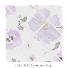 Lavender Purple, Pink, Grey and White Fabric Memory Memo Photo Bulletin Board for Watercolor Floral Collection by Sweet Jojo Designs - Rose Flower