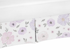 Lavender Purple, Pink, Grey and White Girl Pleated Crib Bed Skirt Dust Ruffle for Watercolor Floral Collection by Sweet Jojo Designs - Rose Flower
