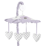 Lavender Purple, Pink, Grey and White Musical Baby Crib Mobile for Watercolor Floral Collection by Sweet Jojo Designs - Rose Flower