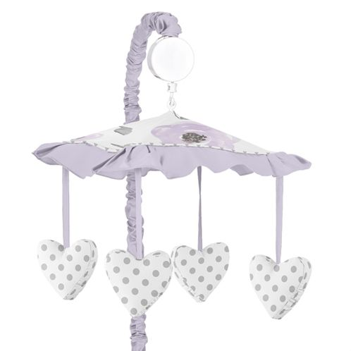 Lavender Purple, Pink, Grey and White Musical Baby Crib Mobile for Watercolor Floral Collection by Sweet Jojo Designs - Rose Flower - Click to enlarge