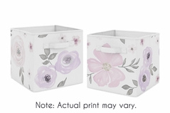 Lavender Purple, Pink, Grey and White Organizer Storage Bins for Watercolor Floral Collection by Sweet Jojo Designs - Set of 2 - Rose Flower