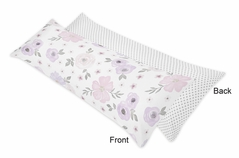 Lavender Purple, Pink, Grey and White Polka Dot Body Pillow Case Cover for Watercolor Floral Collection by Sweet Jojo Designs (Pillow Not Included) - Rose Flower Polka Dot