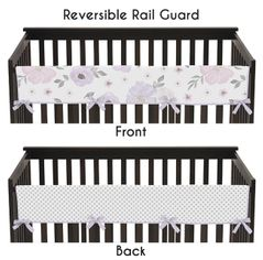 Lavender Purple, Pink, Grey and White Polka Dot Long Front Crib Rail Guard Baby Teething Cover Protector Wrap for Watercolor Floral Collection by Sweet Jojo Designs - Rose Flower Polka Dot