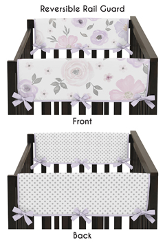 Lavender Purple, Pink, Grey and White Polka Dot Side Crib Rail Guards Baby Teething Cover Protector Wrap for Watercolor Floral Collection by Sweet Jojo Designs - Set of 2 - Rose Flower Polka Dot