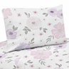 Lavender Purple, Pink, Grey and White Queen Sheet Set for Watercolor Floral Collection by Sweet Jojo Designs - 4 piece set - Rose Flower