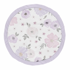 Lavender Purple, Pink, Grey and White Shabby Chic Playmat Tummy Time Baby and Infant Play Mat for Watercolor Floral Collection by Sweet Jojo Designs - Rose Flower