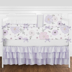 Lavender Purple, Pink, Grey and White Shabby Chic Watercolor Floral Baby Girl Nursery Crib Bedding Set with Bumper by Sweet Jojo Designs - 9 pieces