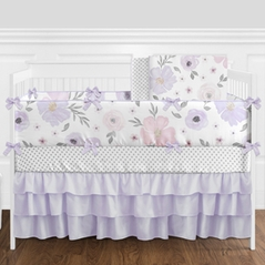 Lavender Purple, Pink, Grey and White Shabby Chic Watercolor Floral Baby Girl Nursery Crib Bedding Set with Bumper by Sweet Jojo Designs - 9 pieces - Rose Flower Polka Dot