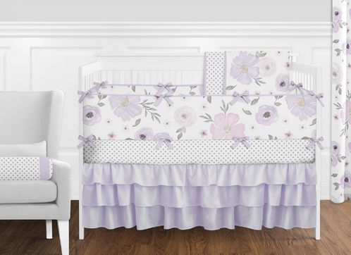 Lavender Purple, Pink, Grey and White Shabby Chic Watercolor Floral Baby Girl Nursery Crib Bedding Set with Bumper by Sweet Jojo Designs - 9 pieces - Click to enlarge