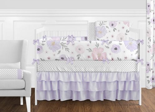 Lavender Purple, Pink, Grey and White Shabby Chic Watercolor Floral Baby Girl Nursery Crib Bedding Set with Bumper by Sweet Jojo Designs - 9 pieces - Rose Flower Polka Dot - Click to enlarge
