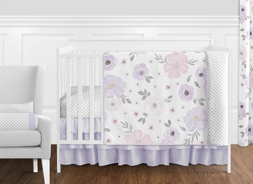 Lavender Purple, Pink, Grey and White Shabby Chic Watercolor Floral Baby Girl Nursery Crib Bedding Set without Bumper by Sweet Jojo Designs - 11 pieces - Rose Flower Polka Dot - Click to enlarge
