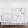 Lavender Purple, Pink, Grey and White Shabby Chic Watercolor Floral Baby Girl Nursery Crib Bedding Set without Bumper by Sweet Jojo Designs - 4 pieces