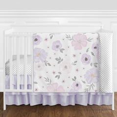 Lavender Purple, Pink, Grey and White Shabby Chic Watercolor Floral Baby Girl Nursery Crib Bedding Set without Bumper by Sweet Jojo Designs - 4 pieces - Rose Flower Polka Dot