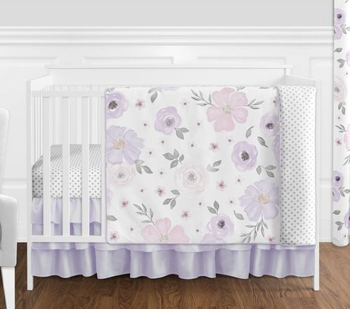 Lavender Purple, Pink, Grey and White Shabby Chic Watercolor Floral Baby Girl Nursery Crib Bedding Set without Bumper by Sweet Jojo Designs - 4 pieces - Rose Flower Polka Dot - Click to enlarge