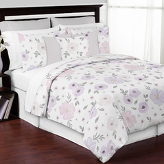 Lavender Purple, Pink, Grey and White Shabby Chic Watercolor Floral Girl Full / Queen Teen Childrens Bedding Comforter Set by Sweet Jojo Designs - 3 pieces - Rose Flower