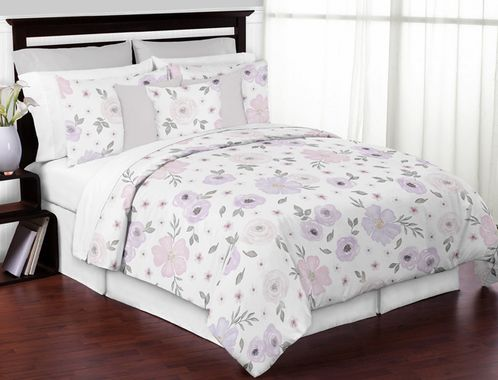 Lavender Purple, Pink, Grey and White Shabby Chic Watercolor Floral Girl Full / Queen Teen Childrens Bedding Comforter Set by Sweet Jojo Designs - 3 pieces - Rose Flower - Click to enlarge
