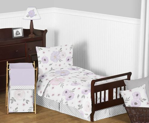 Lavender Purple, Pink, Grey and White Shabby Chic Watercolor Floral Girl Toddler Kid Childrens Bedding Set by Sweet Jojo Designs - 5 pieces Comforter, Sham and Sheets - Rose Flower Polka Dot - Click to enlarge
