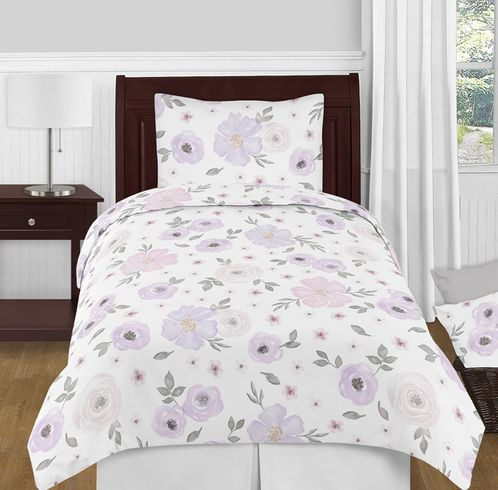 Lavender Purple, Pink, Grey and White Shabby Chic Watercolor Floral Girl Twin Kid Childrens Bedding Comforter Set by Sweet Jojo Designs - 4 pieces - Rose Flower - Click to enlarge