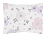 Lavender Purple, Pink, Grey and White Standard Pillow Sham for Watercolor Floral Collection by Sweet Jojo Designs - Rose Flower