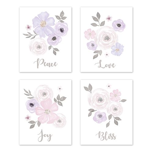 Lavender Purple, Pink Grey and White Wall Art Prints Room Decor for Baby, Nursery, and Kids for Watercolor Floral Collection by Sweet Jojo Designs - Set of 4 - Peace, Love, Joy, Bliss - Click to enlarge