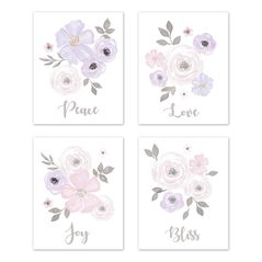 Lavender Purple, Pink Grey and White Wall Art Prints Room Decor for Baby, Nursery, and Kids for Watercolor Floral Collection by Sweet Jojo Designs - Set of 4 - Peace, Love, Joy, Bliss